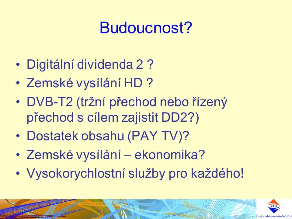 Budoucnost? Digitální dividenda 2 ? Zemské vysílání HD ? DVB-T2 (tržní přechod nebo řízený přechod s cílem zajistit DD2?) Dostatek obsahu (PAY TV)? Ze