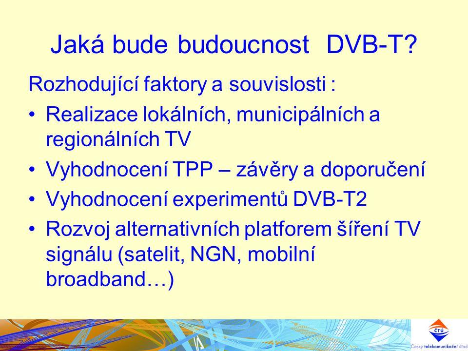 Jaká bude budoucnost DVB-T? Rozhodující faktory a souvislosti : Realizace lokálních, municipálních a regionálních TV Vyhodnocení TPP – závěry a doporu