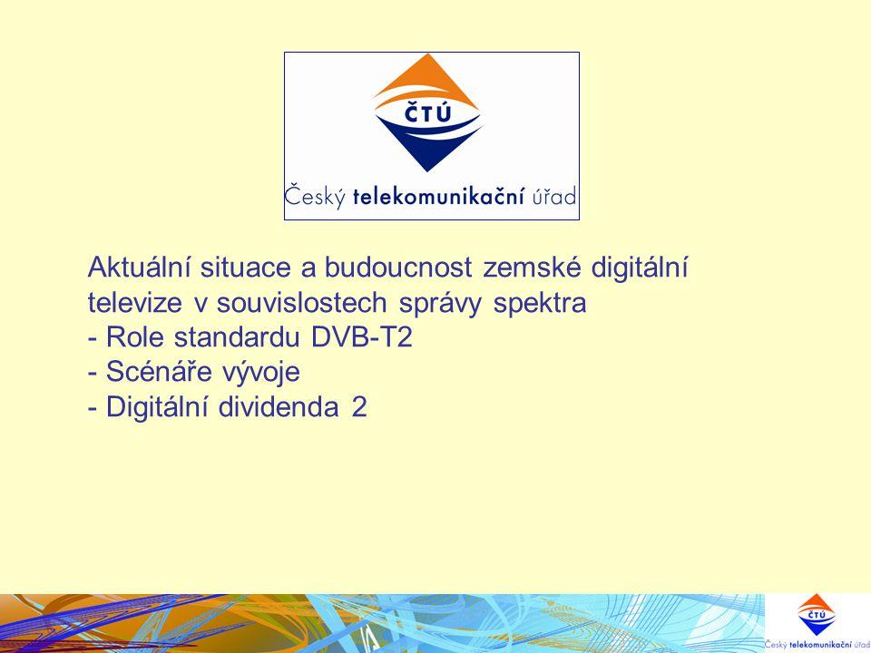 Aktuální situace a budoucnost zemské digitální televize v souvislostech správy spektra - Role standardu DVB-T2 - Scénáře vývoje - Digitální dividenda
