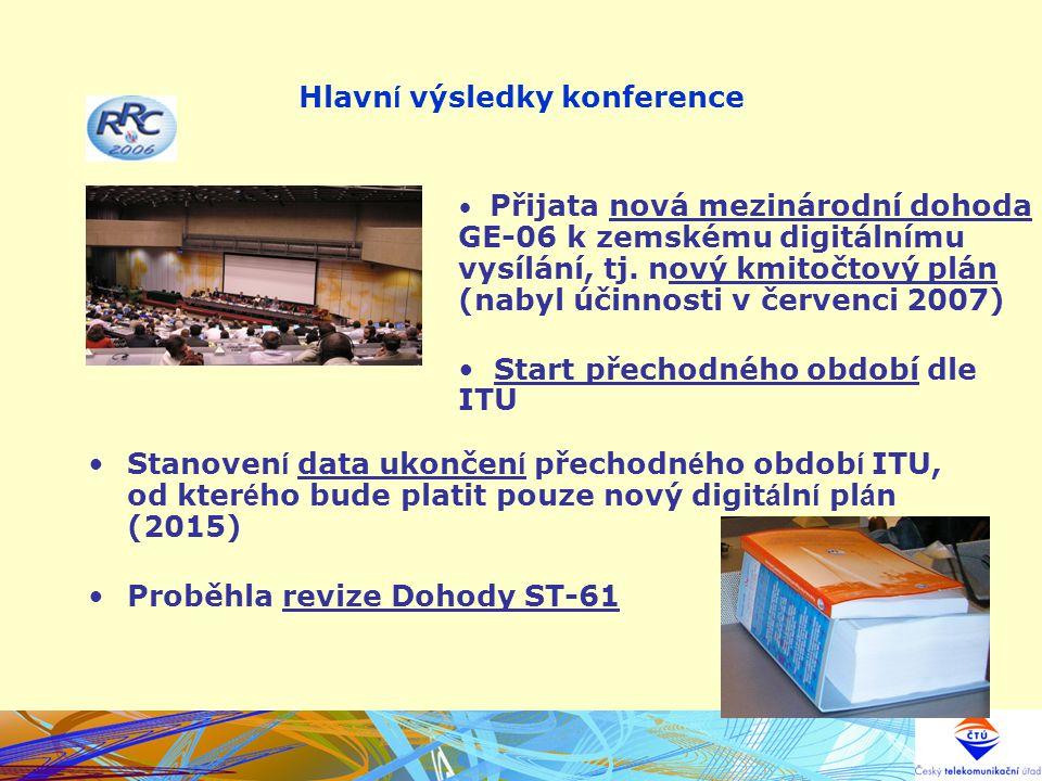 Hlavn í výsledky konference Stanoven í data ukončen í přechodn é ho obdob í ITU, od kter é ho bude platit pouze nový digit á ln í pl á n (2015) Proběh