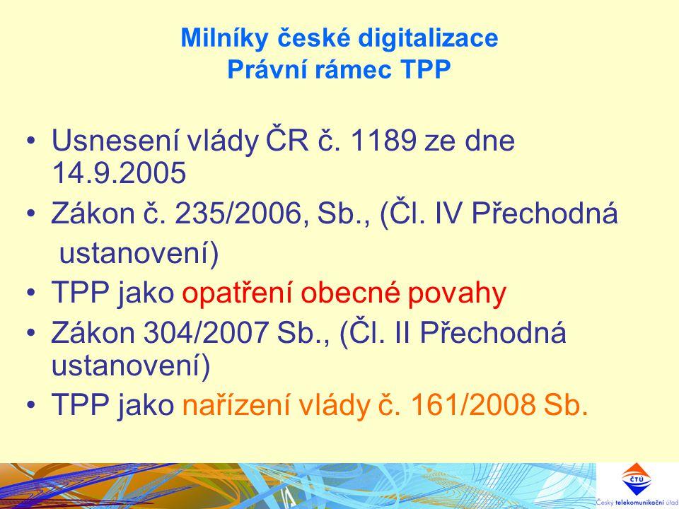 Milníky české digitalizace Právní rámec TPP Usnesení vlády ČR č. 1189 ze dne 14.9.2005 Zákon č. 235/2006, Sb., (Čl. IV Přechodná ustanovení) TPP jako