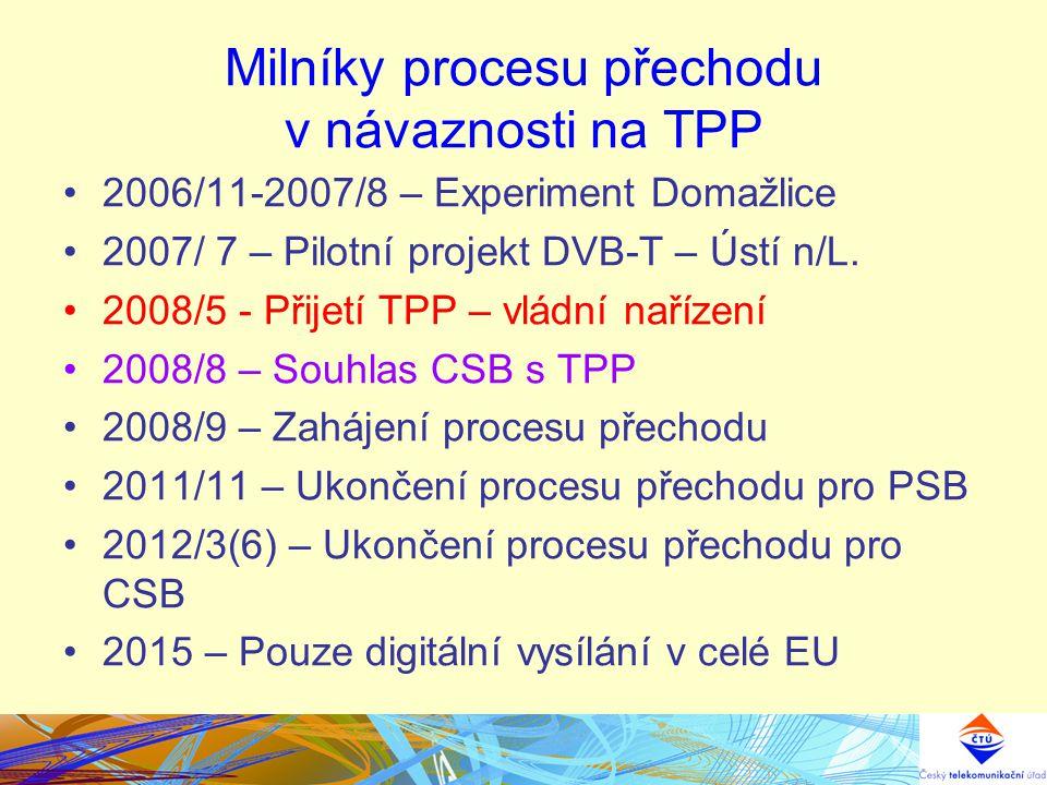 Milníky procesu přechodu v návaznosti na TPP 2006/11-2007/8 – Experiment Domažlice 2007/ 7 – Pilotní projekt DVB-T – Ústí n/L. 2008/5 - Přijetí TPP –