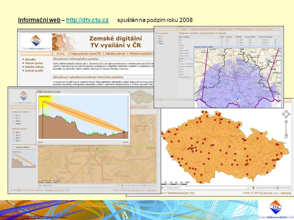 Informační web – http://dtv.ctu.cz spuštěn na podzim roku 2008http://dtv.ctu.cz