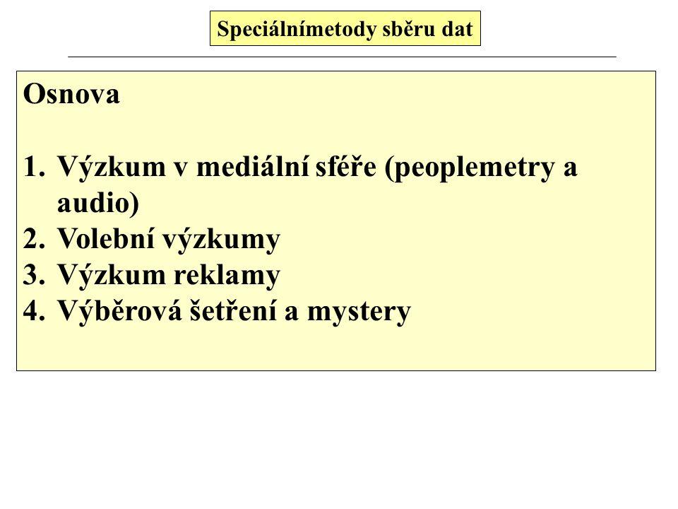 Speciálnímetody sběru dat Osnova 1.Výzkum v mediální sféře (peoplemetry a audio) 2.Volební výzkumy 3.Výzkum reklamy 4.Výběrová šetření a mystery