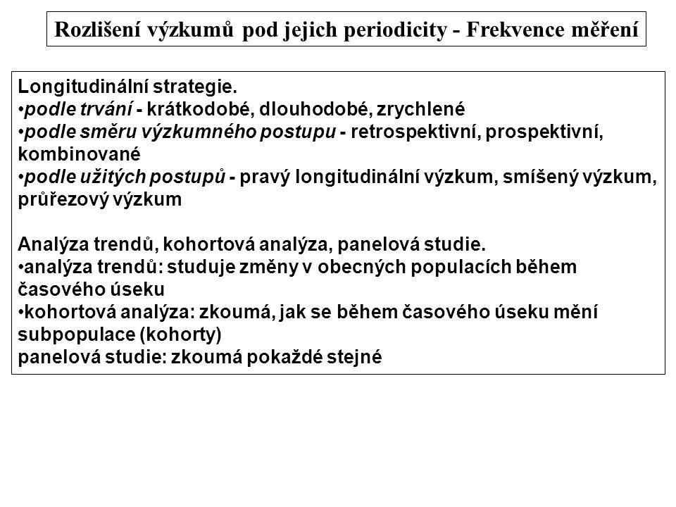 Rozlišení výzkumů pod jejich periodicity - Frekvence měření Longitudinální strategie. podle trvání - krátkodobé, dlouhodobé, zrychlené podle směru výz