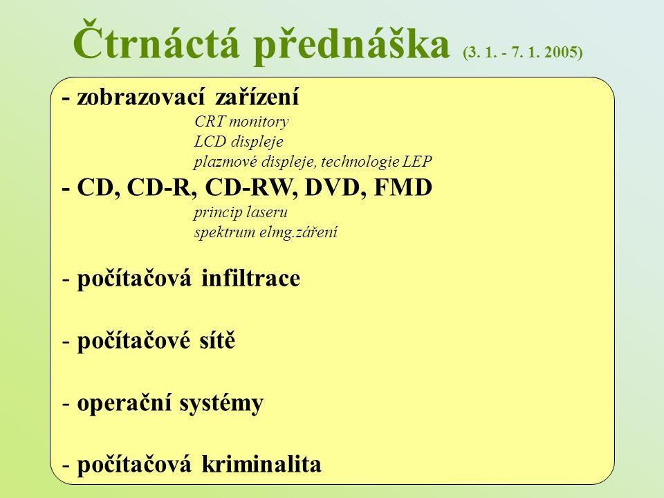 Čtrnáctá přednáška (3. 1. - 7. 1. 2005) - zobrazovací zařízení CRT monitory LCD displeje plazmové displeje, technologie LEP - CD, CD-R, CD-RW, DVD, FM