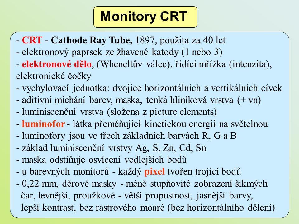 - CRT - Cathode Ray Tube, 1897, použita za 40 let - elektronový paprsek ze žhavené katody (1 nebo 3) - elektronové dělo, (Wheneltův válec), řídící mří