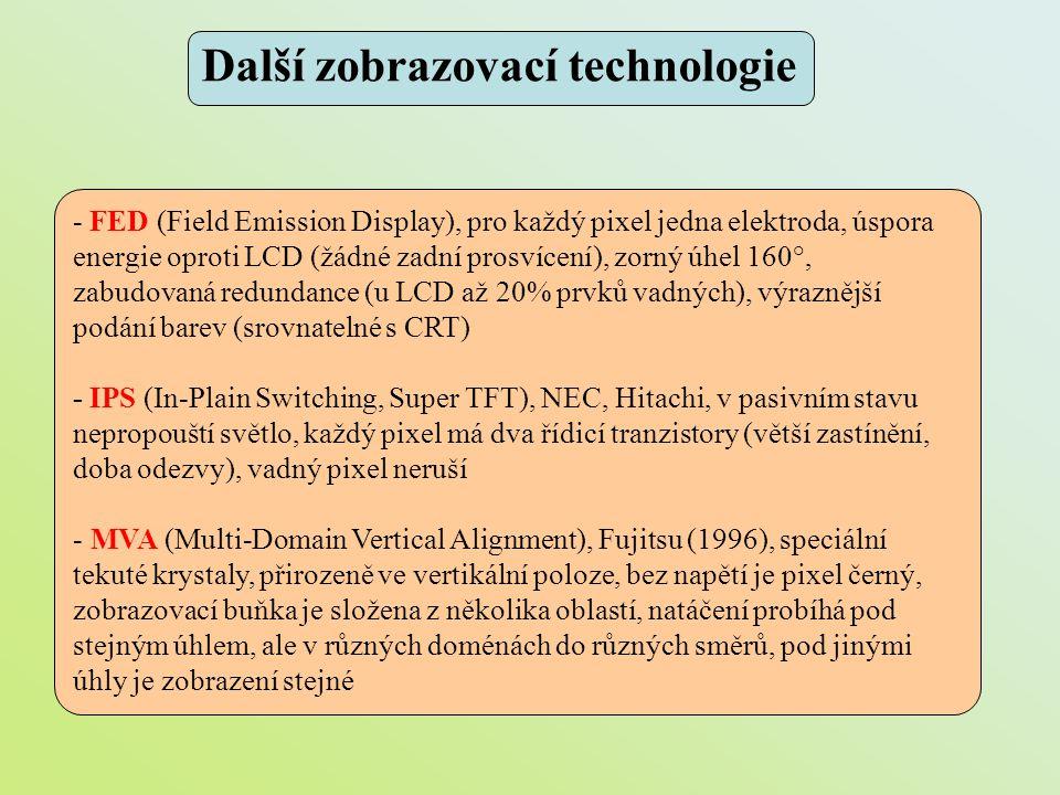 Další zobrazovací technologie - FED (Field Emission Display), pro každý pixel jedna elektroda, úspora energie oproti LCD (žádné zadní prosvícení), zor
