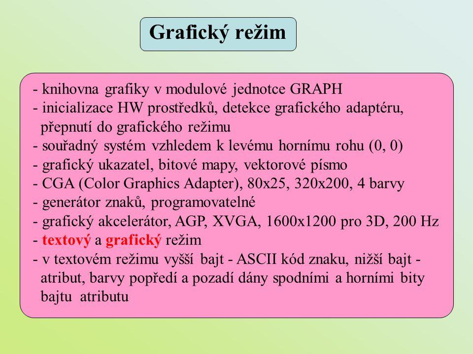 - knihovna grafiky v modulové jednotce GRAPH - inicializace HW prostředků, detekce grafického adaptéru, přepnutí do grafického režimu - souřadný systé