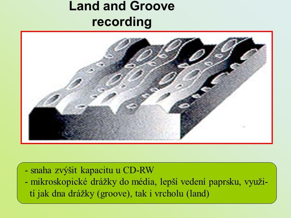 Land and Groove recording - snaha zvýšit kapacitu u CD-RW - mikroskopické drážky do média, lepší vedení paprsku, využi- tí jak dna drážky (groove), ta