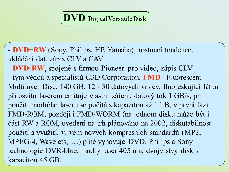 - DVD+RW (Sony, Philips, HP, Yamaha), rostoucí tendence, ukládání dat, zápis CLV a CAV - DVD-RW, spojené s firmou Pioneer, pro video, zápis CLV - tým