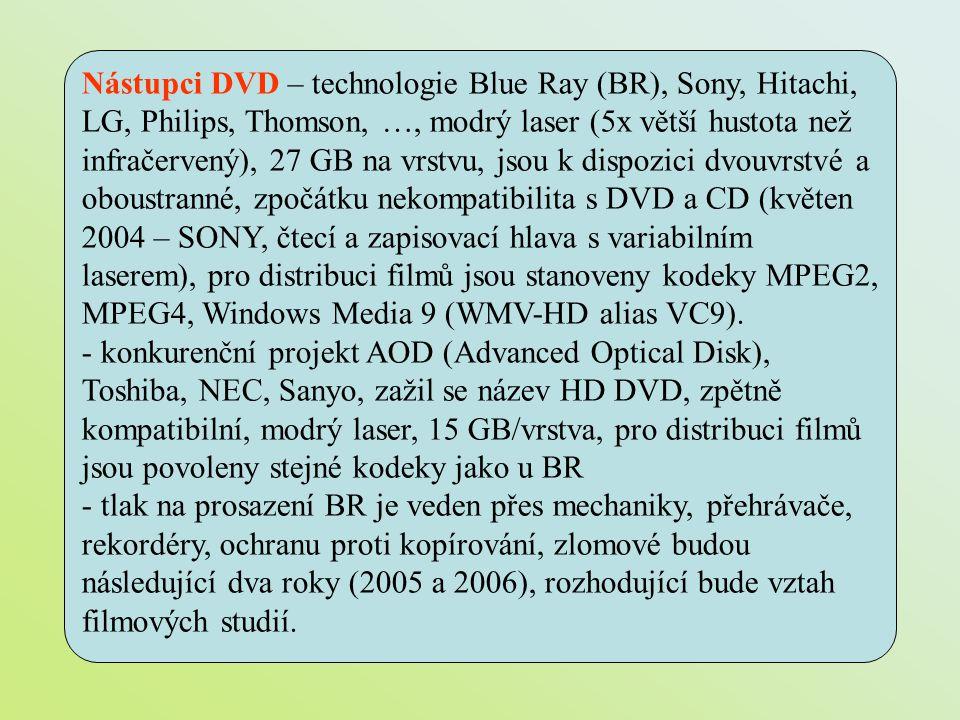 Nástupci DVD – technologie Blue Ray (BR), Sony, Hitachi, LG, Philips, Thomson, …, modrý laser (5x větší hustota než infračervený), 27 GB na vrstvu, js