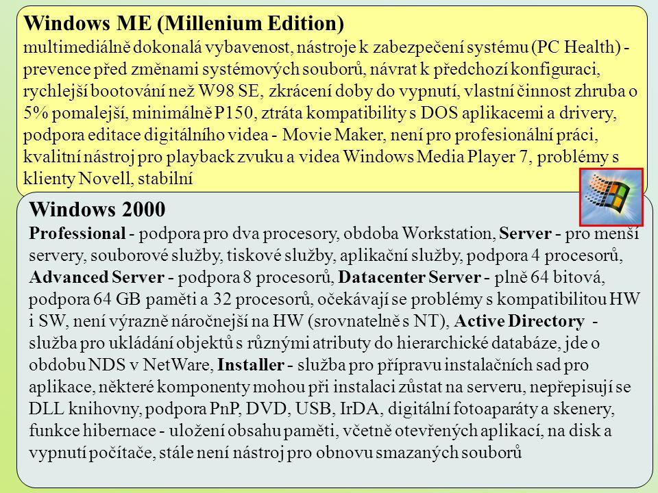 Windows ME (Millenium Edition) multimediálně dokonalá vybavenost, nástroje k zabezpečení systému (PC Health) - prevence před změnami systémových soubo