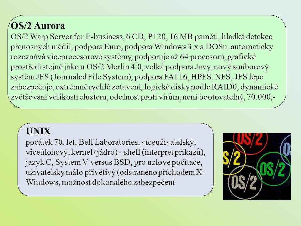 OS/2 Aurora OS/2 Warp Server for E-business, 6 CD, P120, 16 MB paměti, hladká detekce přenosných médií, podpora Euro, podpora Windows 3.x a DOSu, auto