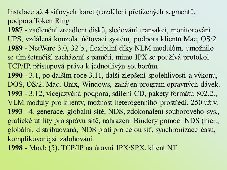 Instalace až 4 síťových karet (rozdělení přetížených segmentů, podpora Token Ring. 1987 - začlenění zrcadlení disků, sledování transakcí, monitorování