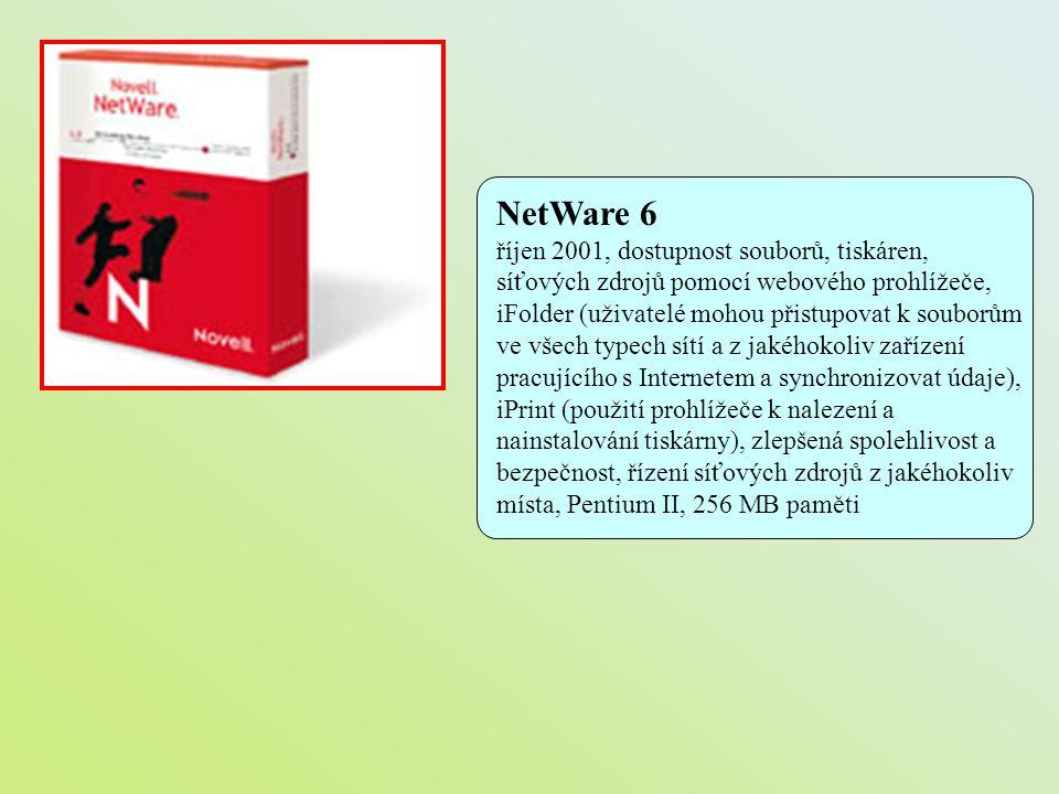 NetWare 6 říjen 2001, dostupnost souborů, tiskáren, síťových zdrojů pomocí webového prohlížeče, iFolder (uživatelé mohou přistupovat k souborům ve vše