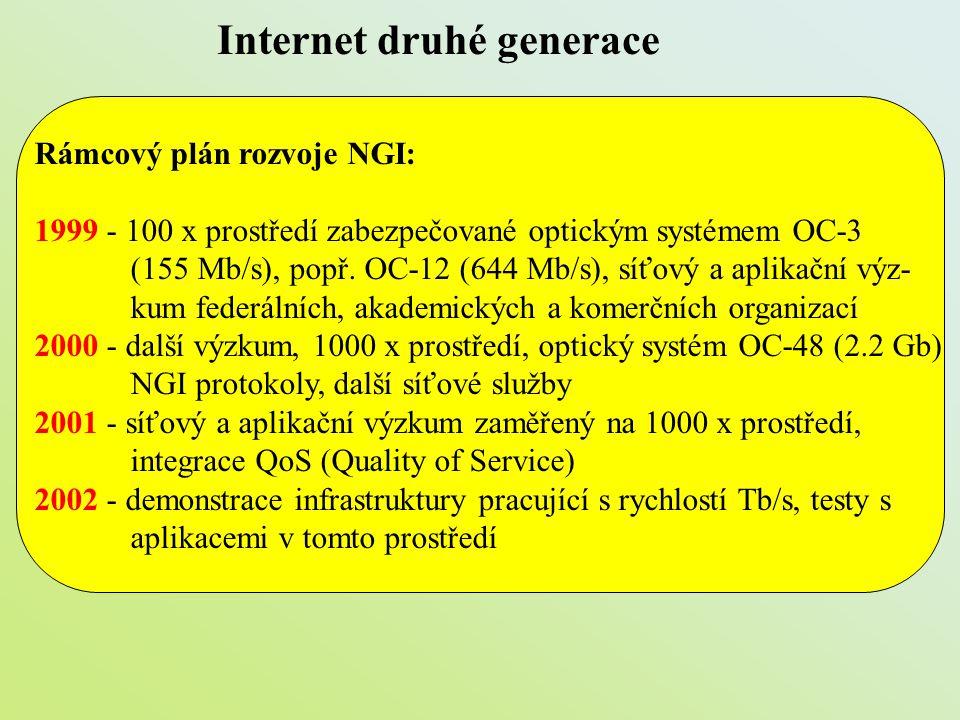 Internet druhé generace Rámcový plán rozvoje NGI: 1999 - 100 x prostředí zabezpečované optickým systémem OC-3 (155 Mb/s), popř. OC-12 (644 Mb/s), síťo