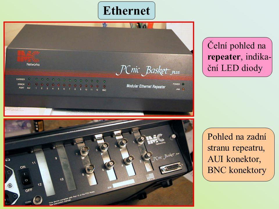 Čelní pohled na repeater, indika- ční LED diody Pohled na zadní stranu repeatru, AUI konektor, BNC konektory Ethernet