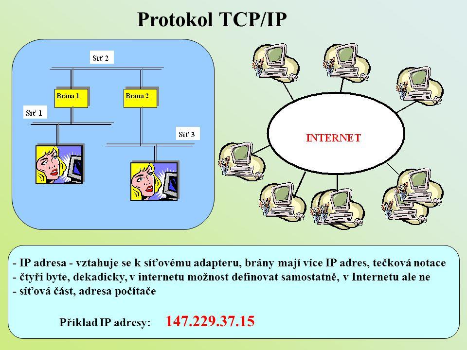 Protokol TCP/IP - IP adresa - vztahuje se k síťovému adapteru, brány mají více IP adres, tečková notace - čtyři byte, dekadicky, v internetu možnost d