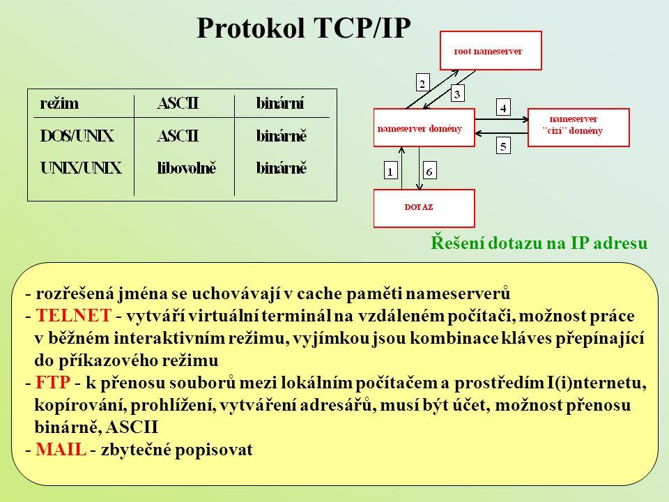 Protokol TCP/IP Řešení dotazu na IP adresu - rozřešená jména se uchovávají v cache paměti nameserverů - TELNET - vytváří virtuální terminál na vzdálen