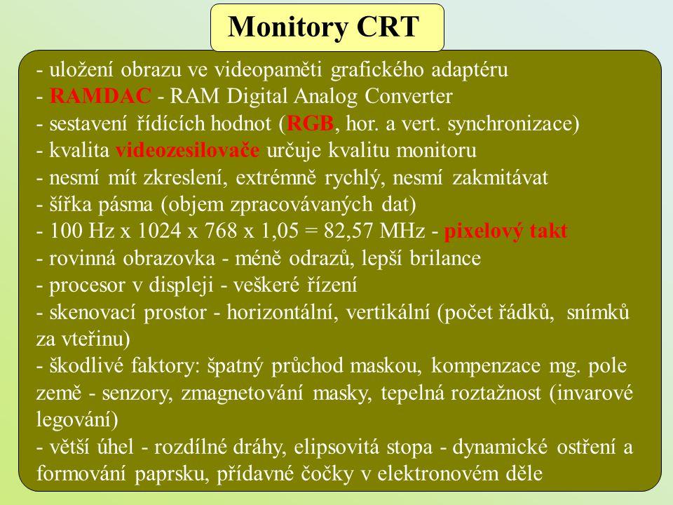 - monitory s úhlopříčkou 15 , 17 , 19 , 21 (22 ) - multimediální výbava - vstupy VGA konektor, BNC konektory, rozhraní USB - rozteč bodů 0,22 mm, úhel vychylování 100 stupňů, horizontální frekvence 100 kHz, vertikální frekvence 160 Hz, 1600 x 1200, (2048 x 1024) - cena, použití filtrů, největší podíl na vyzařování vlnění, výzkumný program TEMPEST, stínění zařízení Monitory CRT