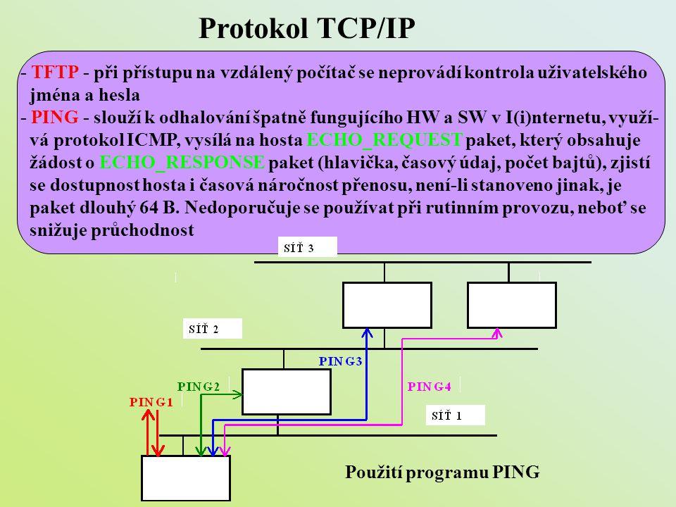 Protokol TCP/IP - TFTP - při přístupu na vzdálený počítač se neprovádí kontrola uživatelského jména a hesla - PING - slouží k odhalování špatně funguj