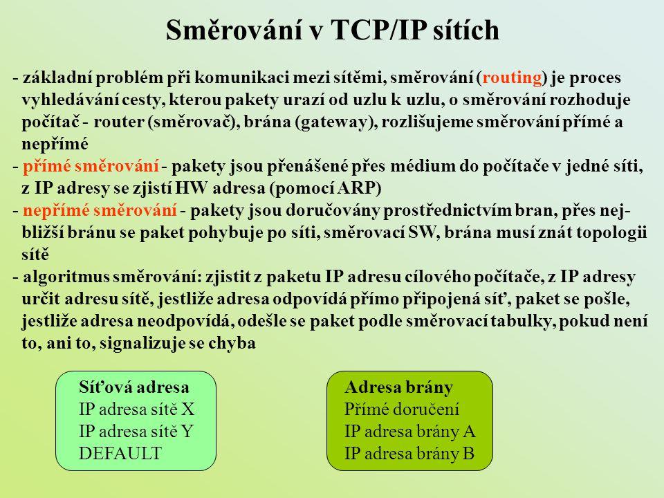 Směrování v TCP/IP sítích - základní problém při komunikaci mezi sítěmi, směrování (routing) je proces vyhledávání cesty, kterou pakety urazí od uzlu
