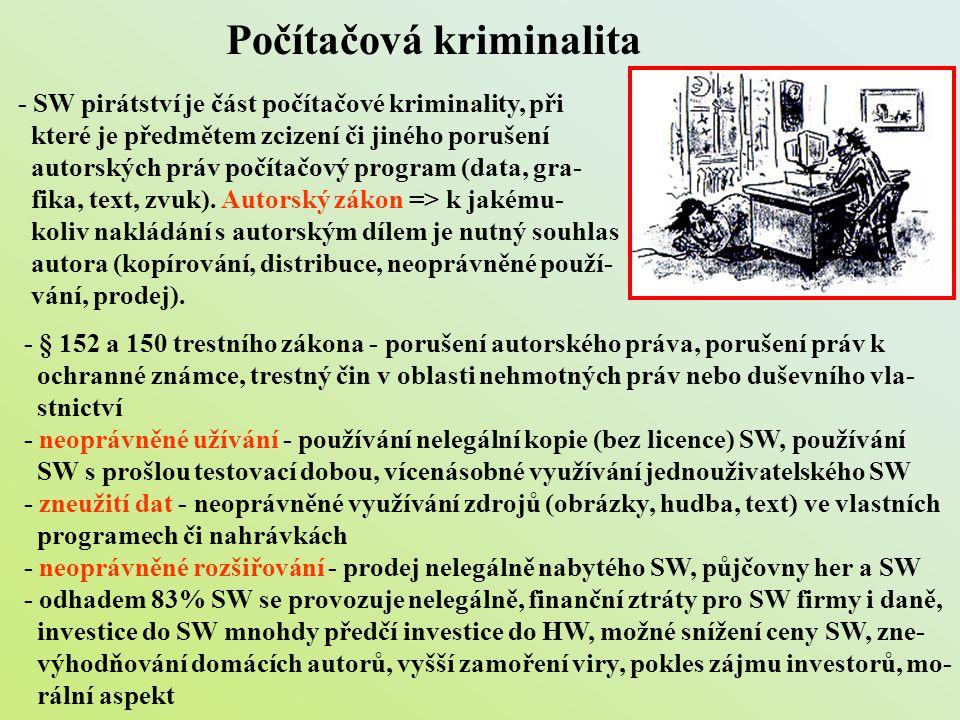 Počítačová kriminalita - SW pirátství je část počítačové kriminality, při které je předmětem zcizení či jiného porušení autorských práv počítačový pro