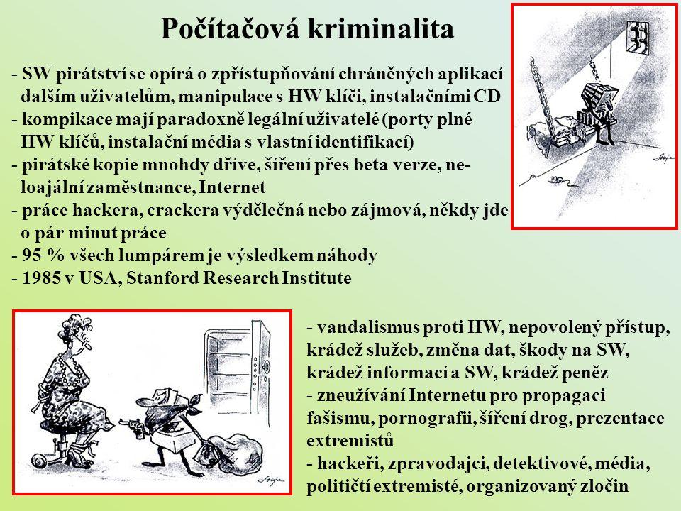 Počítačová kriminalita - SW pirátství se opírá o zpřístupňování chráněných aplikací dalším uživatelům, manipulace s HW klíči, instalačními CD - kompik