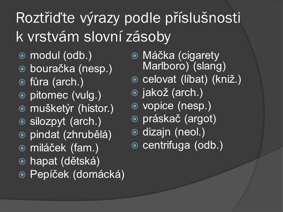 Roztřiďte výrazy podle příslušnosti k vrstvám slovní zásoby  modul (odb.)  bouračka (nesp.)  fůra (arch.)  pitomec (vulg.)  mušketýr (histor.) 