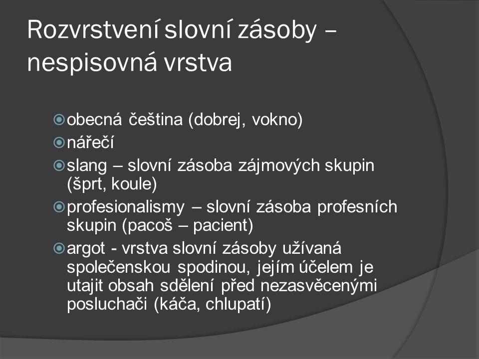 Rozvrstvení slovní zásoby – nespisovná vrstva  obecná čeština (dobrej, vokno)  nářečí  slang – slovní zásoba zájmových skupin (šprt, koule)  profe