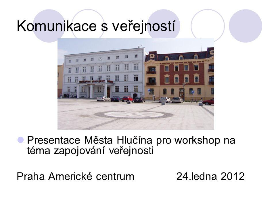 Komunikace s veřejností Presentace Města Hlučína pro workshop na téma zapojování veřejnosti Praha Americké centrum 24.ledna 2012