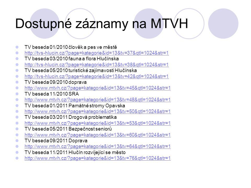 Dostupné záznamy na MTVH TV beseda 01/2010 člověk a pes ve městě http://tvs-hlucin.cz/ page=kategorie&id=13&tv=37&qtl=1024&str=1 TV beseda 03/2010 fauna a flora Hlučínska http://tvs-hlucin.cz/ page=kategorie&id=13&tv=38&qtl=1024&str=1 TV beseda 05/2010 turistické zajímavosti Hlučínska http://tvs-hlucin.cz/ page=kategorie&id=13&tv=42&qtl=1024&str=1 TV beseda 09/2010 doprava http://www.mtvh.cz/ page=kategorie&id=13&tv=45&qtl=1024&str=1 TV beseda 11/2010 SRA http://www.mtvh.cz/ page=kategorie&id=13&tv=48&qtl=1024&str=1 TV beseda 01/2011 Památné stromy Opavska http://www.mtvh.cz/ page=kategorie&id=13&tv=50&qtl=1024&str=1 TV beseda 03/2011 Drogová problematika http://www.mtvh.cz/ page=kategorie&id=13&tv=53&qtl=1024&str=1 TV beseda 05/2011 Bezpečnost seniorů http://www.mtvh.cz/ page=kategorie&id=13&tv=60&qtl=1024&str=1 TV beseda 09/2011 Doprava http://www.mtvh.cz/ page=kategorie&id=13&tv=64&qtl=1024&str=1 TV beseda 11/2011 Hlučín rozvíjející se město http://www.mtvh.cz/ page=kategorie&id=13&tv=76&qtl=1024&str=1