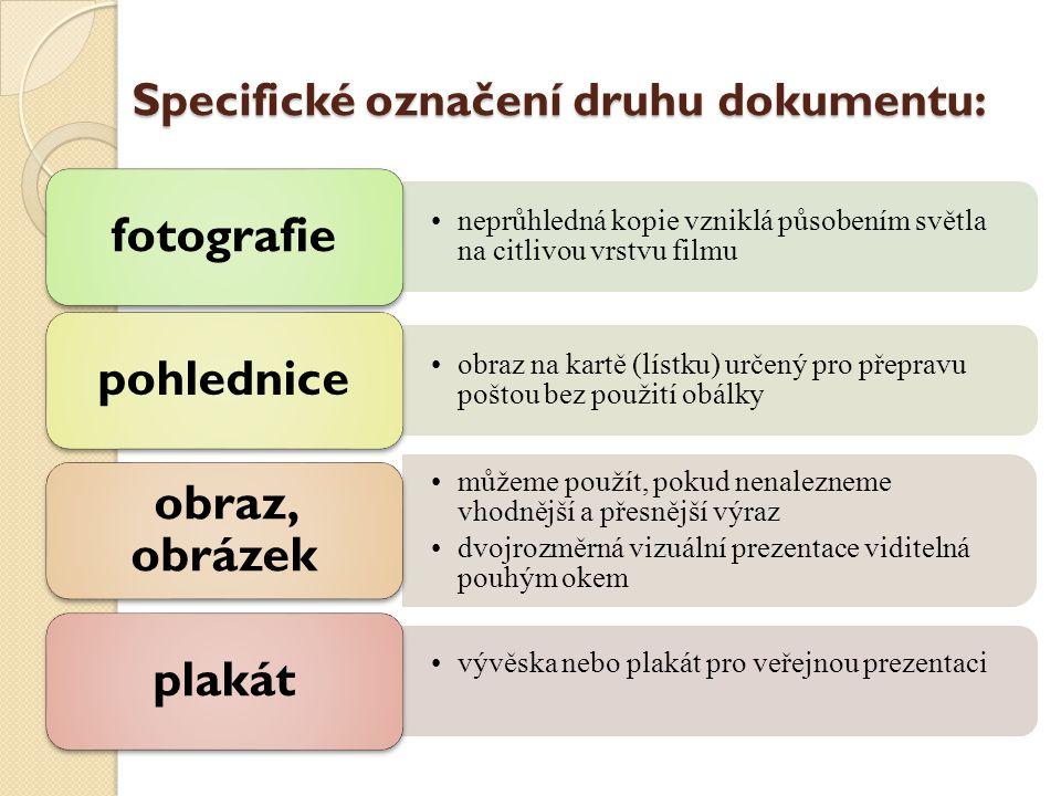 Specifické označení druhu dokumentu: neprůhledná kopie vzniklá působením světla na citlivou vrstvu filmu fotografie obraz na kartě (lístku) určený pro přepravu poštou bez použití obálky pohlednice můžeme použít, pokud nenalezneme vhodnější a přesnější výraz dvojrozměrná vizuální prezentace viditelná pouhým okem obraz, obrázek vývěska nebo plakát pro veřejnou prezentaci plakát
