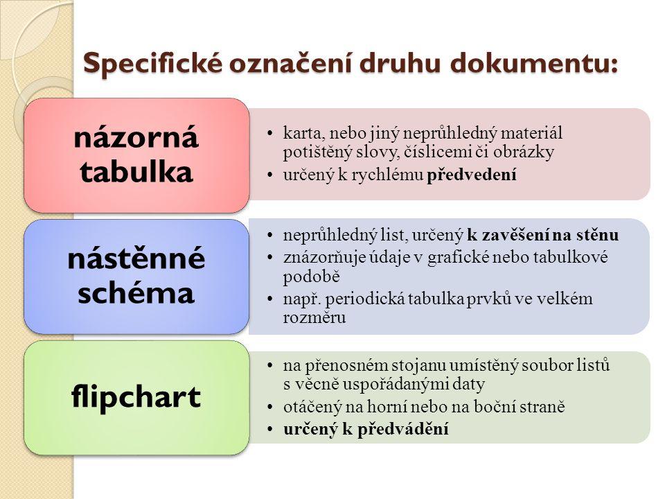 Specifické označení druhu dokumentu: karta, nebo jiný neprůhledný materiál potištěný slovy, číslicemi či obrázky určený k rychlému předvedení názorná tabulka neprůhledný list, určený k zavěšení na stěnu znázorňuje údaje v grafické nebo tabulkové podobě např.