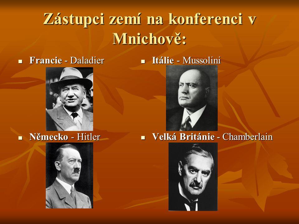 Zástupci zemí na konferenci v Mnichově: Francie - Daladier Francie - Daladier Itálie - Mussolini Itálie - Mussolini Německo - Hitler Německo - Hitler Velká Británie - Chamberlain Velká Británie - Chamberlain