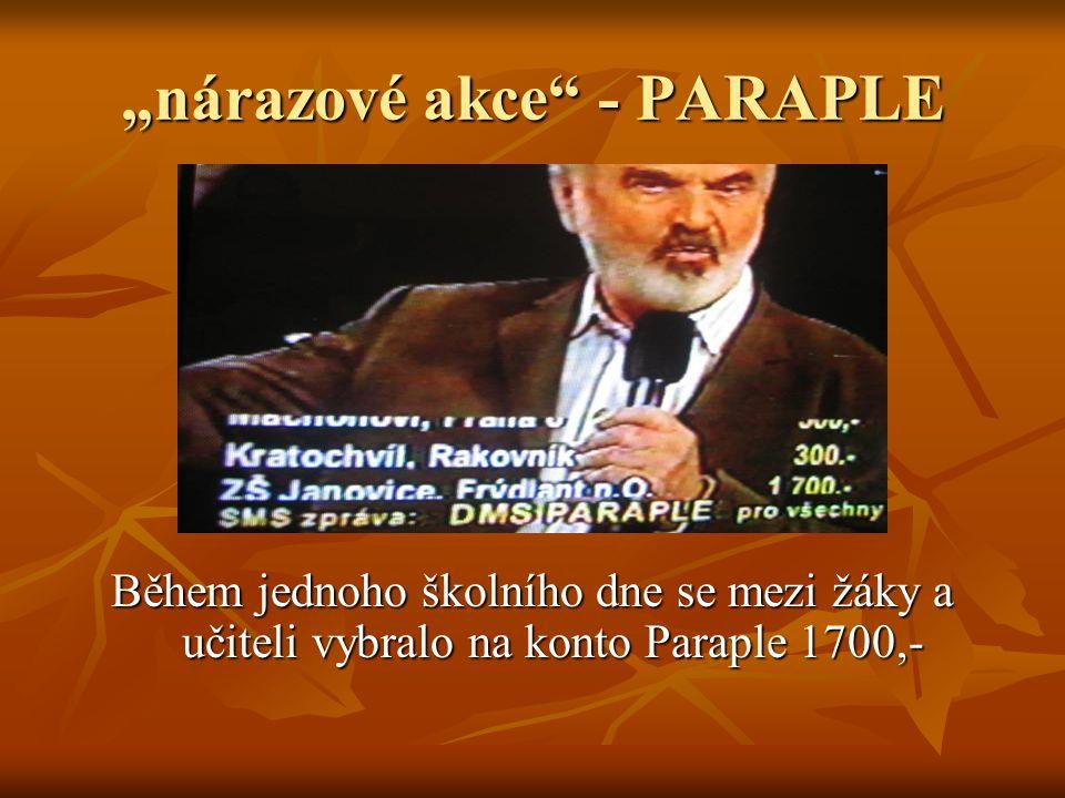 """""""nárazové akce - PARAPLE Během jednoho školního dne se mezi žáky a učiteli vybralo na konto Paraple 1700,-"""
