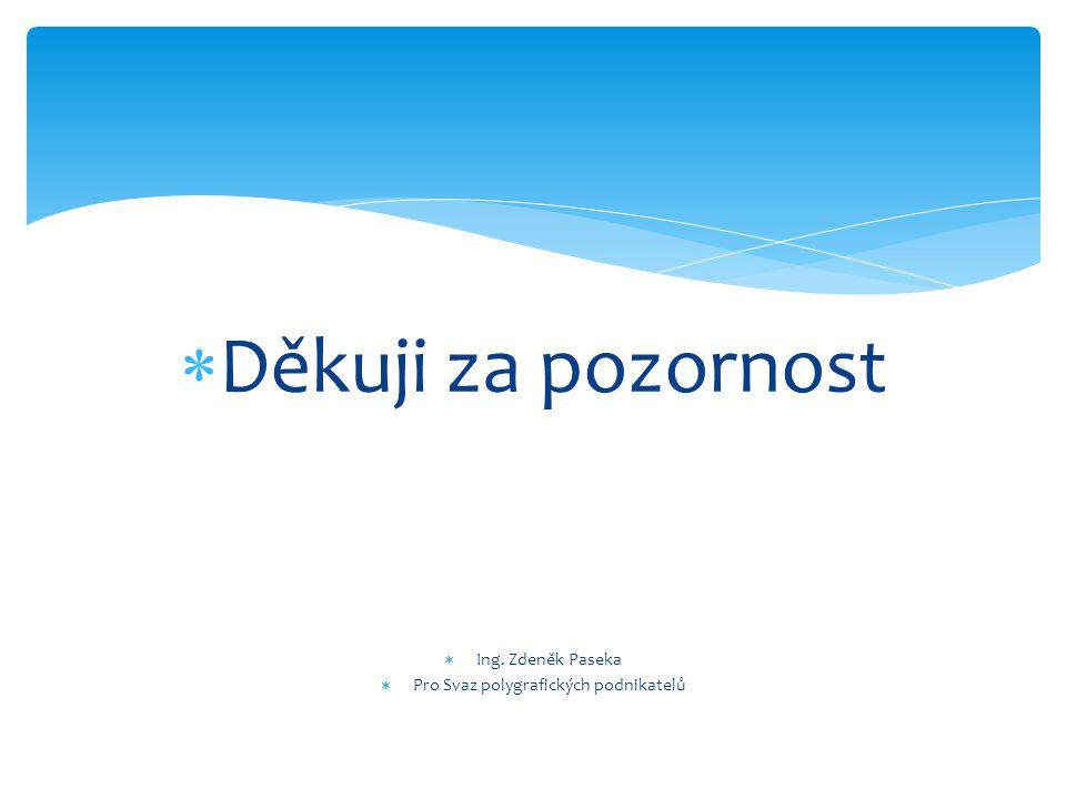  Děkuji za pozornost  Ing. Zdeněk Paseka  Pro Svaz polygrafických podnikatelů