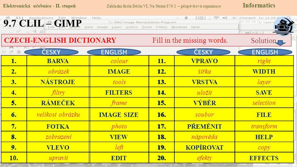 9.7 CLIL – GIMP Elektronická učebnice - II. stupeň Základní škola Děčín VI, Na Stráni 879/2 – příspěvková organizace Informatics CZECH-ENGLISH DICTION