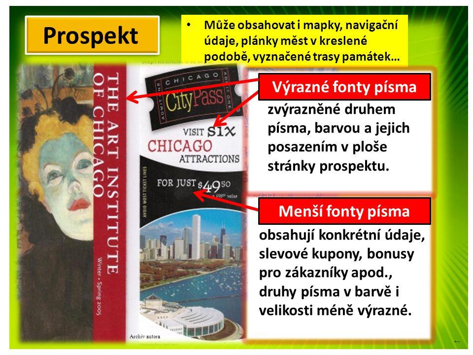 Archiv autora ©c.zuk Prospekt K uvedení nových výrobků na trh Má více listů, různě skládaný, Barevný, několik druhů písma, Využívaný na výstavách, veletrzích, k prezentacím firem apod.