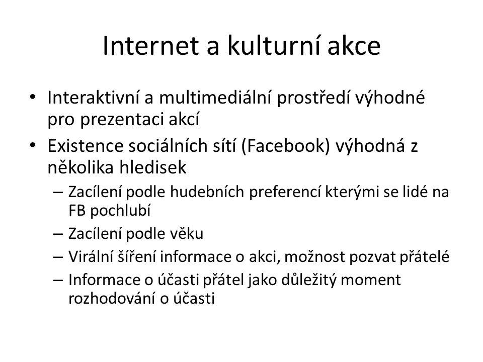 Internet a kulturní akce Interaktivní a multimediální prostředí výhodné pro prezentaci akcí Existence sociálních sítí (Facebook) výhodná z několika hl