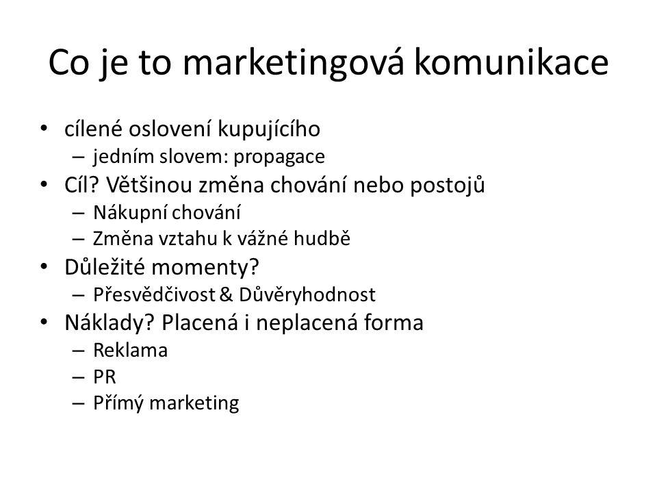 Co je to marketingová komunikace cílené oslovení kupujícího – jedním slovem: propagace Cíl? Většinou změna chování nebo postojů – Nákupní chování – Zm