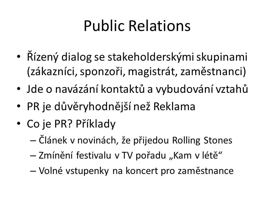 Public Relations pro kulturní akce Klíčová věc Dobré vztahy a důvěra zákazníků je klíčová – Když je na plakátu Brian Adams musí přijet Brian Adams – Využjte PR k zvýšení důveryhodnosti (kredibility) Nízké finanční náklady PR oproti reklamně jsou výhodou Každé noviny mají kulturní sekci.