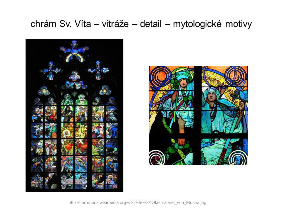 chrám Sv. Víta – vitráže – detail – mytologické motivy http://commons.wikimedia.org/wiki/File%3AGlasmalerei_von_Mucha.jpg