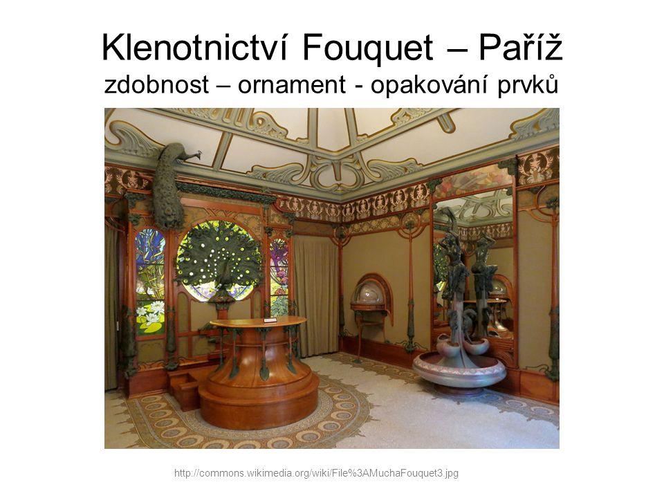Klenotnictví Fouquet – Paříž zdobnost – ornament - opakování prvků http://commons.wikimedia.org/wiki/File%3AMuchaFouquet3.jpg