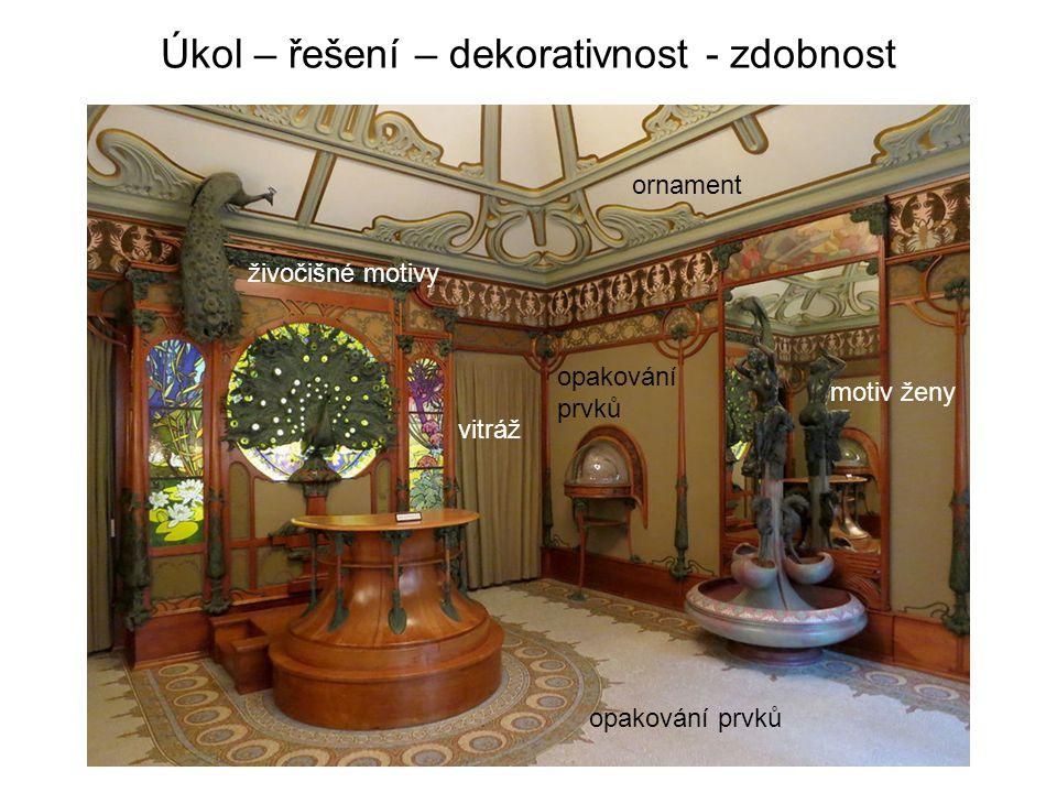 Úkol – řešení – dekorativnost - zdobnost motiv ženy živočišné motivy opakování prvků vitráž ornament