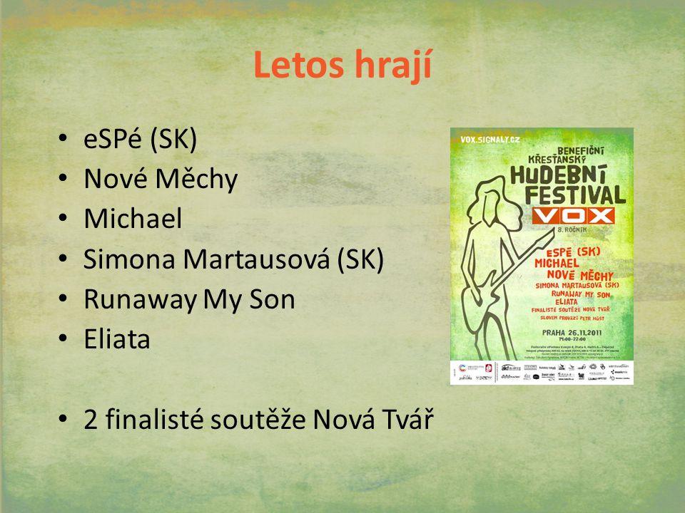 Letos hrají eSPé (SK) Nové Měchy Michael Simona Martausová (SK) Runaway My Son Eliata 2 finalisté soutěže Nová Tvář