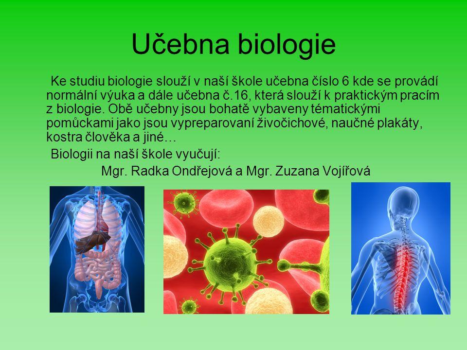 Učebna biologie Ke studiu biologie slouží v naší škole učebna číslo 6 kde se provádí normální výuka a dále učebna č.16, která slouží k praktickým prac