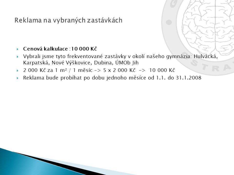  Cenová kalkulace :10 000 Kč  Vybrali jsme tyto frekventované zastávky v okolí našeho gymnázia: Hulvácká, Karpatská, Nové Výškovice, Dubina, ÚMOb Ji