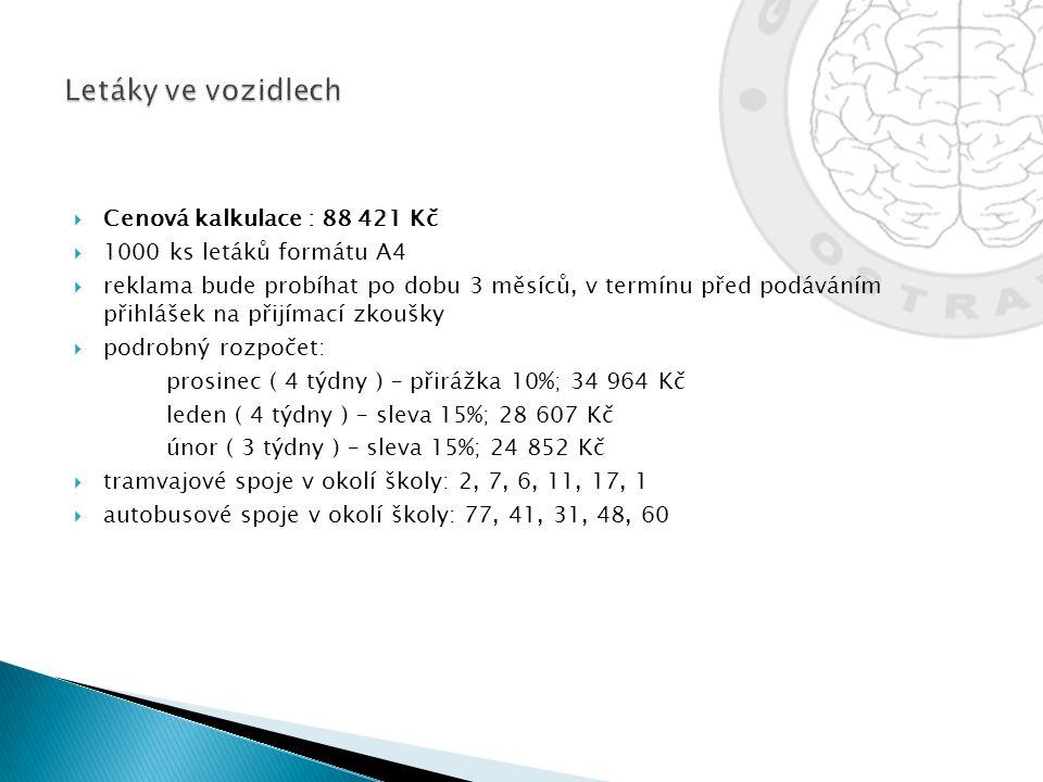  Cenová kalkulace : 88 421 Kč  1000 ks letáků formátu A4  reklama bude probíhat po dobu 3 měsíců, v termínu před podáváním přihlášek na přijímací z